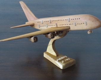 Airbus A380 passenger carrier aircraft with stand wooden crafted XXL
