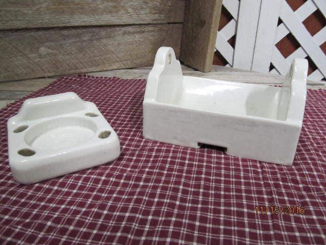 Vintage White Heavy Ceramic Toilet Paper Holder Toothbrush