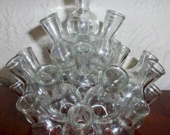 Vintage Clear Two 2 Piece Ring 25 Individual Water Jars Holders Fused Bulbs Beakers Flasks Floral Bouquet Arranger Arrangement Flower Frog