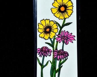 Victorian Flower Bookmark - Yellow Flower Bookmark - Hand Drawn Bookmark - Pink Flower Bookmark