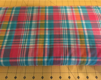 Fabric Finders Madras Plaid- Pink, Yellow and Blue