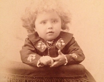 ON SALE Antique Cabinet Card photo photograph -- little girl with curly hair -- Topeka Kansas vintage old
