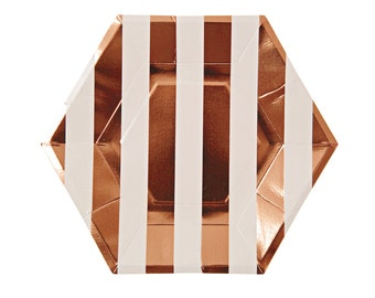 NEW! Rose Gold Striped Plates - Set of 8