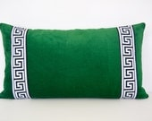 Emerald Green Pillow Cover -Green Velvet Lumbar Pillow with Greek Key Trim