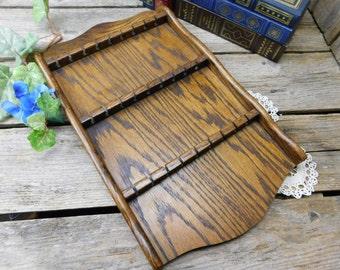 Vintage Hand Made Wood Collector Spoon Wall Display Rack