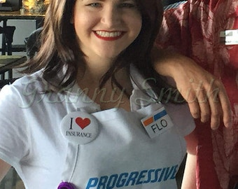 HIGH QUALITY and durable Adult Flo Progressive Insurance Apron, Name Badge + Pin + Headband. You attach where you want! A fun FLO apron!