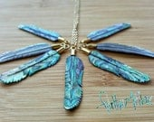 Feather Necklace-  Hand Carved Abalone , Paua Shell with Brass Bail and Gold plated chain- Size: Super Mini - Feather Tribe