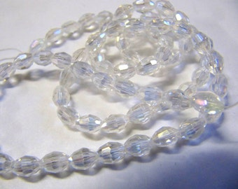 Faceted Rice Beads, 4x6MM, Crystal AB, Czech Crystal, Oval Shape, 16 Inch Strands, 72 Bead Strand, Jewelry Making