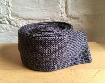 Silk Necktie, Purple-Grey Tie, Knitted Silk Tie, Skinny Grey Tie, Gift for Men, Father's Day Gift
