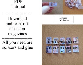 PDF Tutorial for miniature magazines for dolls house.  1/12th scale.  Step by step instructions.  Easy to follow.  Instant download.