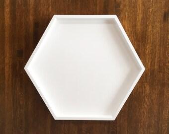 Hexagonal White Decorative Tray, Hexagonal Serving Tray, Hexagon Tray