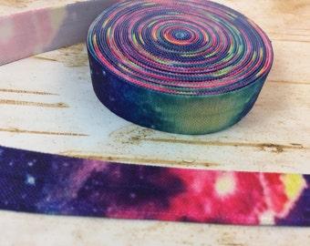 5 yards Rainbow Galaxy fold over elastic FOE 5/8 inch supply diy birthday party favor team gift sewing swim suit costum trim white ponytail