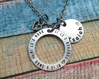 Adoption Jewelry, Born, Home, Forever, Adoptive Foster Parent, Adoption necklace, Adoption Gift, Personalized Mommy Necklace