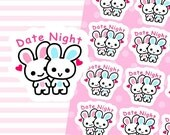 "4x5"" Kawaii Date Night Plan Planner Planning Cute Sticker Stickers Erin Condren Personal Happy Kikki K Amelie #0954"