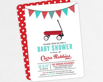 Red Wagon Baby Shower Invitation, Neutral Baby Shower, Boy Baby Shower, Printable Invitation, PDF, Radio Flyer, Retro, Red, Turquoise, DIY