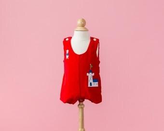 Vintage Red Velvet Medieval Castle Shortalls (Size 3/6 Months)
