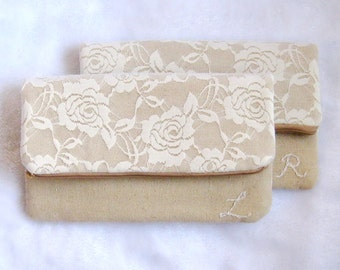 Set of 7 8 9  Personalized bridesmaid clutch, White Lace wedding clutch, bridesmaids foldover clutch purse, makeup pouch, rustic chic CL908