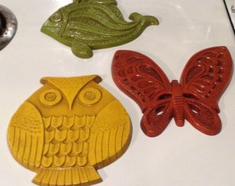 Set Of 3 Syroco Wall Plaques - Fish, Butterfly, And Owl