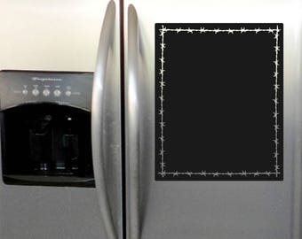 Western Chalkboard Refrigerator/Wall Decal with Barbed Wire Border