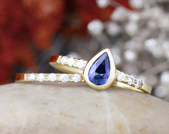 Gemstone Engagement Ring Set | Blue Sapphire Ring and Matching Diamond Wedding Band | Solid 14K Gold | Fine Jewelry | Free Shipping