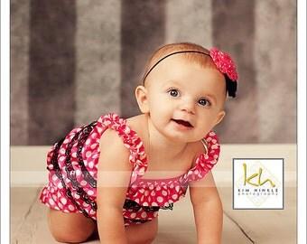 Minnie mouse romper - 1st birthday minnie outfit - pink polka dot romper