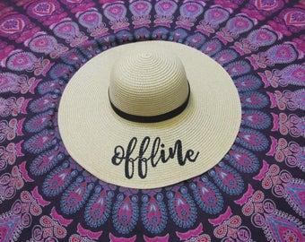 Offline embroidered beach hat,  wedding gift, bachelorette party, girls weekend away
