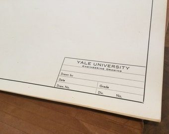 Vintage supply Yale University engineering drawing heavy stock paper