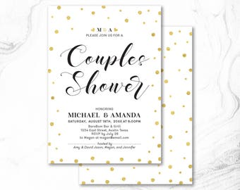 Couples Shower Invitation, Printable Couple Wedding Shower Invitation, Couples Shower Invite _ CPS17_07 Gold, Black & White