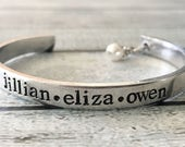 Cuff bracelet - hand stamped bracelet - cuff bracet with pearl - mommy jewelry - Mother's bracelet - bracelet with childrens names - custom