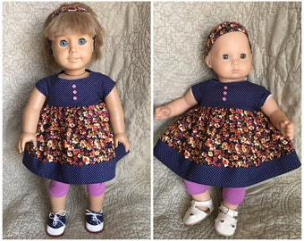 "SALE!! American Girl- Bitty Baby- Doll Clothes- Dress, Leggings and Matching Headband for 18"" OR 15"" Doll"