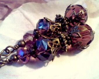 Amethyst Colored Earrings, Swarovski Bead Earrings, Handmade Filigree Earrings, Beaded Dangles, February Birthstone, Vintage Style,  Purple