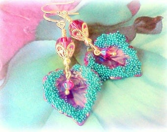 Hand Painted Earrings, Fuchsia and Teal, Painted Earrings, Handmade Dangles, Leaf Earrings, Gypsy Earrings, Teal Leaf Earrings, Boho, #11