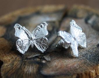 Butterfly earrings, sterling silver
