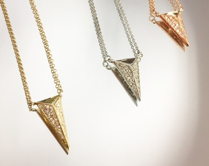 Diamond Spike Necklace in 14k Gold