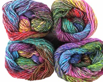 Noro Silk Garden, color 87, rainbow pinks, reds, green, yellow - mohair, wool, silk knitting yarn