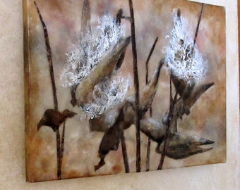 Encaustic painting - Milk weed pods, mixed media, encaustic photography