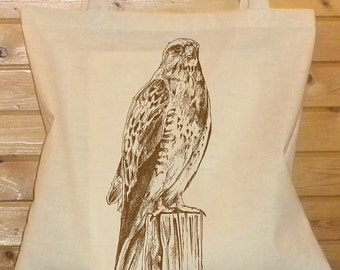 Falcon Totebags. The Icelandic Falcon. Handprinted Graphic Bird on a Cotton Tote Bag. Great Shopping or Beach Bag.  One of a Kind Gift.