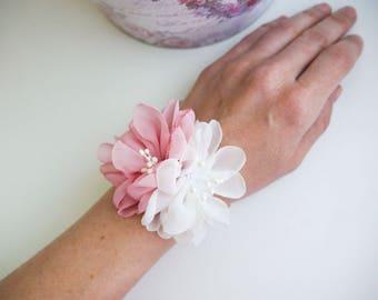 Blush pink ivory flower wrist corsage, Flower girl bracelet, Chiffon Flower corsage, Bridesmaid Corsage , Flower girl corsage, mauve