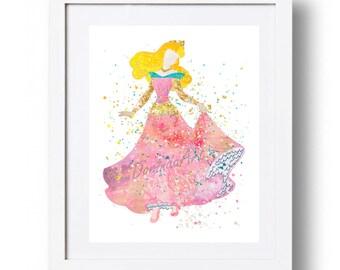 Disney princess print Sleeping Beauty wall art Printable Aurora print Watercolor Disney art Poster INSTANT DOWNLOAD 5x7 8x10 11x14 16x20