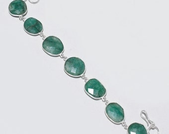 9 inch emerald faceted nuggets 925 silver plated ready to wear bracelet 74 cts 7 pcs