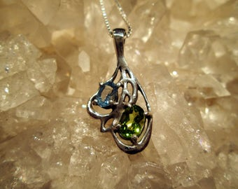 Blue Topaz & Peridot Necklace ~Hand Cast~ Sterling Silver