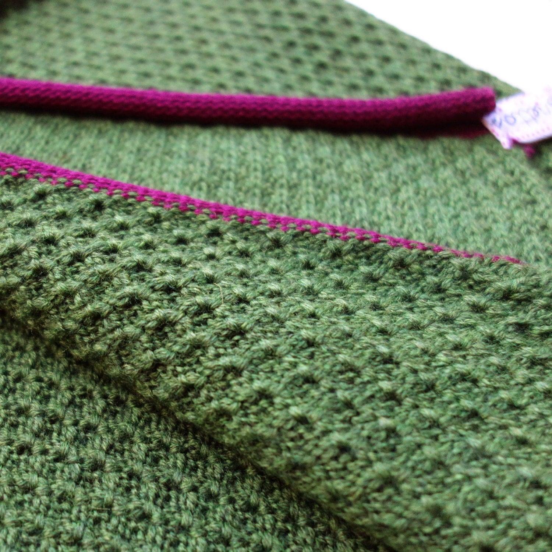 100% merino wool scarf, handmade knit scarf, green scarf, honeycomb ...