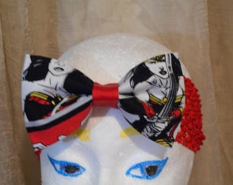 Wonder Woman  Print Fabric Hair Bow Red  Wide Stretchy Headband Ready To Ship Style # 3