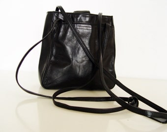 Black leather bag.