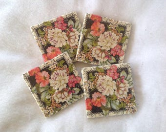 Natural Stone Flower Coasters, Shabby Chic Coasters, Beverage Coasters, Flower Coasters, Beer Coasters