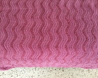 "PURPLE S LiNES WiTH WiNE LaRGE PIECE OF ViNTAGE CHENiLLE BeDSPREAD 25"" X 77"""