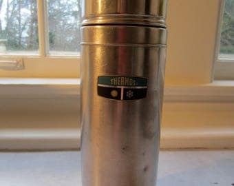 Vintage Stainless Steel Silver Thermos Bottle/Vintage Picnic/Vintage Decor/Vintage Photo Shoot Prop/Metal Thermos/1960s Thermos