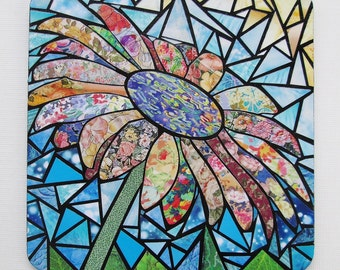Original Paper Mosaic Art - Miniature Art - Mosaic Daisy - Recycled Paper Art - Easel Included