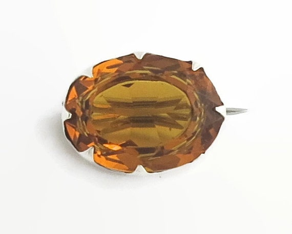 Antique 1907 Charles Horner Arts and Crafts sterling silver brooch with large citrine colored faceted glass stone, Chester, England