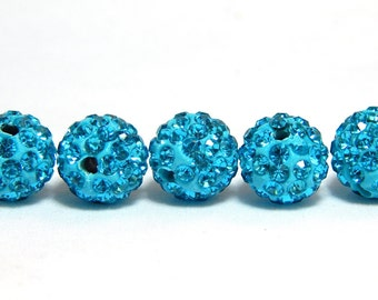 5 Turquoise Pave Beads, 10mm Turquoise Blue Pave, Polymer Clay Pave Bead, Beads, Shamballa Bead, Disco Ball Bead, T-103B